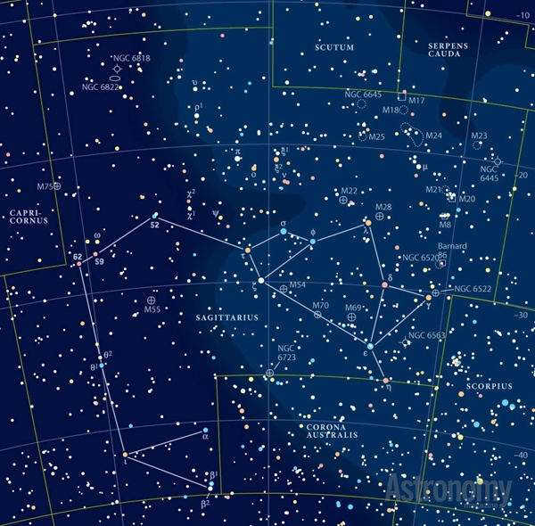 Star chart with constellation Sagittarius and very many Messier objects marked.