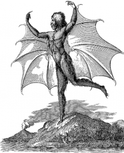 Naked man with bat wings standing on one foot, with raised arms.