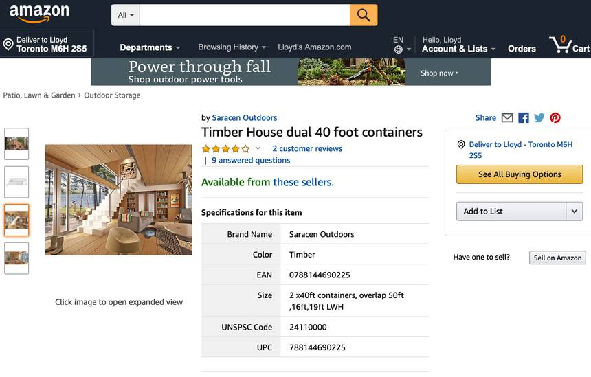 Screen capture of amazon page