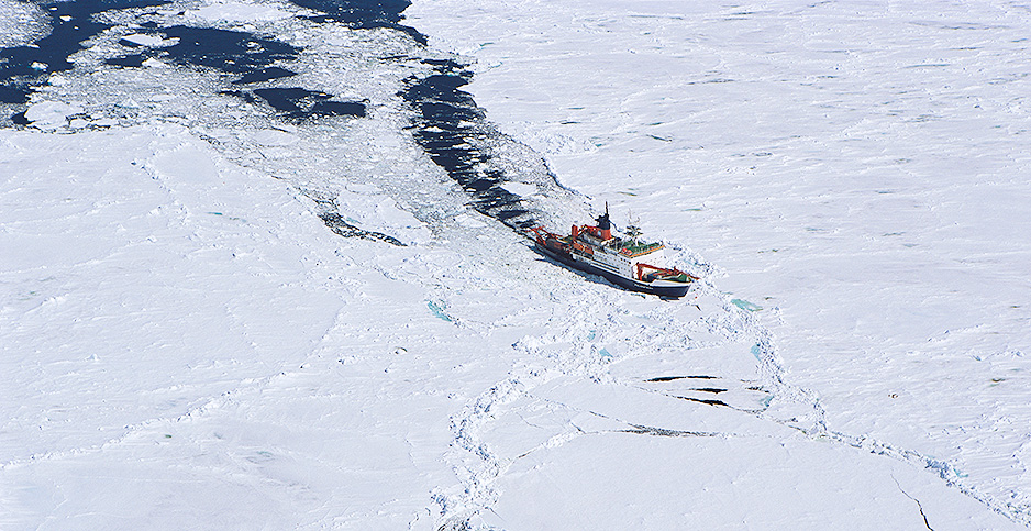 The icebreaker Polarstern moves through sea ice in 2014. Photo credit: Ingo Arndt/ Minden Pictures/Newscom