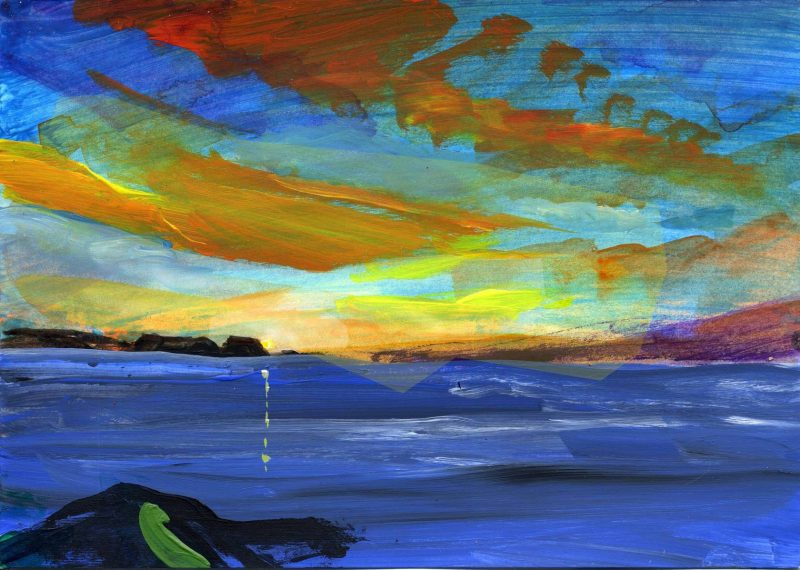A painting of dawn over the ocean.