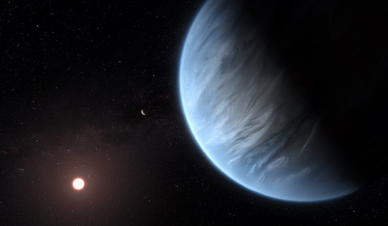 Blue planet with streaks of white and distant sun-like star.