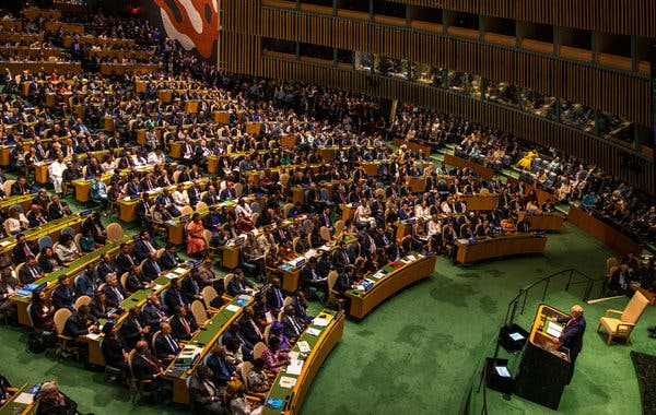 President Trump speaking at the 74th session of the United Nations General Assembly on Tuesday.
