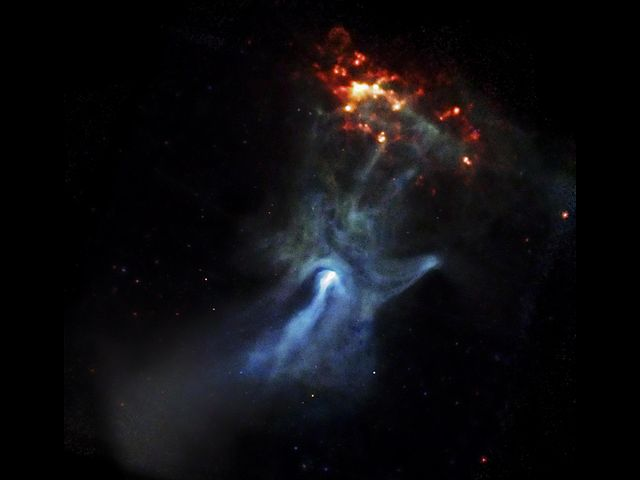 Hand-shaped blue gas cloud with crown of yellow-orange spots above finger end.