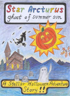 Colorful kids drawing style cover of book with pumpkin sun, ghost, witch.