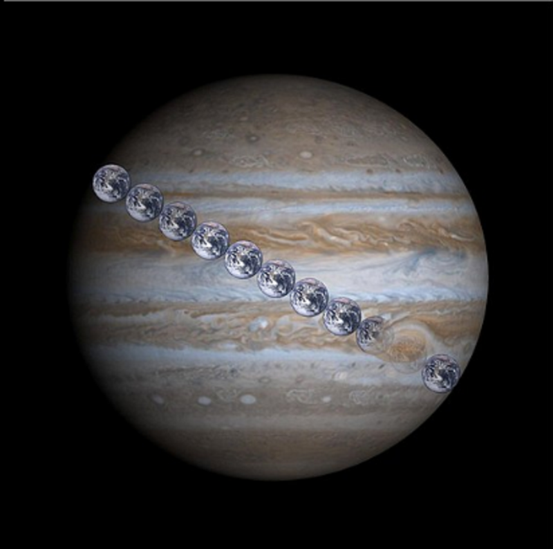 Large photo of Jupiter with Earth globes in a line across it.