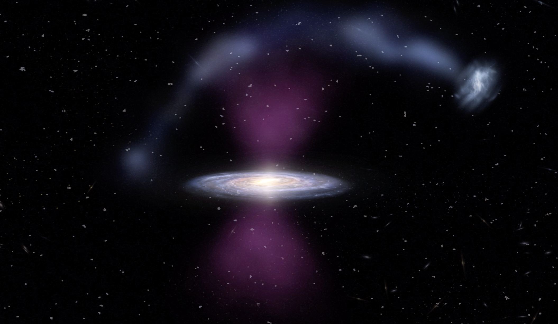 Edgewise galaxy with glowing purple blobs top and bottom, and a stream of material arcing over it.