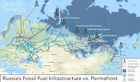 Russia's Fossil Fuel Infrastructure vs. Permafrost (Credit: cleantechnica.com) Click to Enlarge.