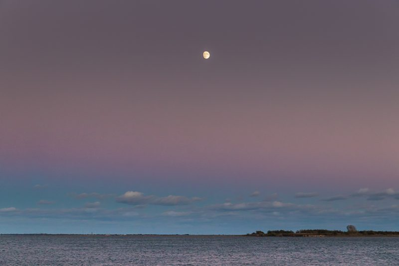 Nearly full moon in sky with bands of deep mauve, pin, and dark sky blue over ocean.