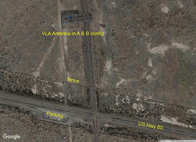Aerial view of highway and fence.