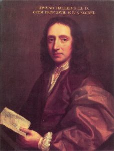 Painting of a man with long wavy hair. He is wearing an academic robe and holding a book.