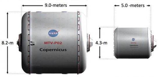 Two cylindrical crew modules, one much larger and one smaller.
