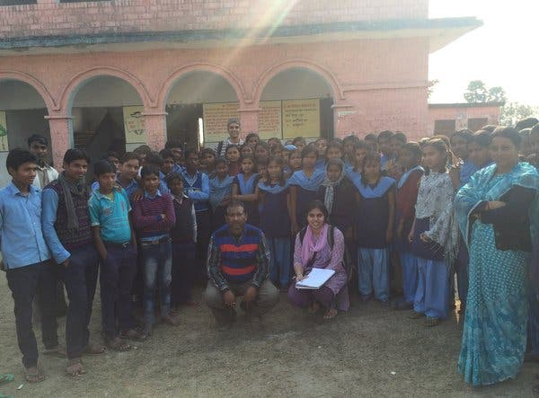 Mr. Rao, in rear, conducted a survey of energy use in a school in Uttar Pradesh in India in 2014.