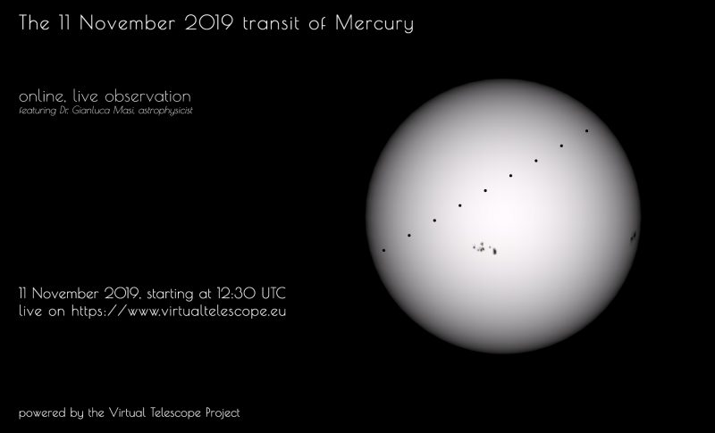 Poster with wording and light gray sun with dots in a line across it and sunspots.