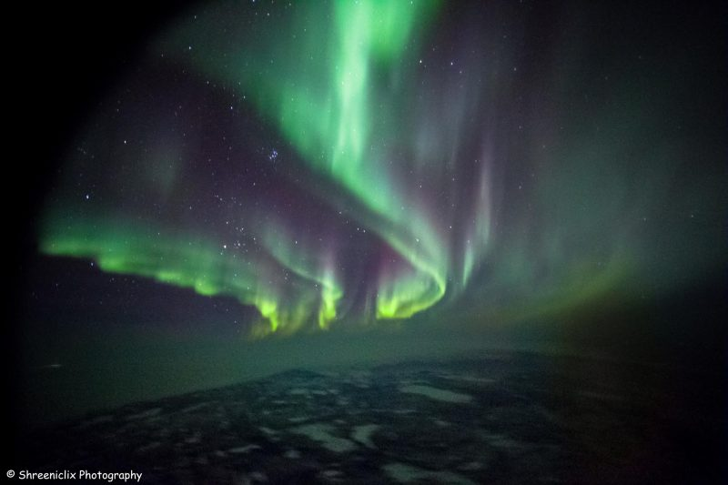 Tall pillars and sheets of green light against night sky over water with ice floes in it.