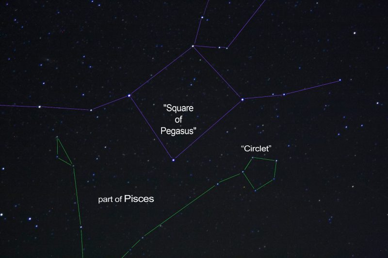 Star chart with lines between stars indicating features listed in caption.