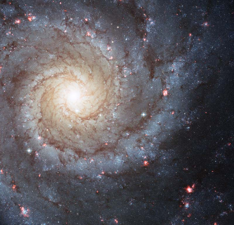 Very bright large spiral galaxy with many pink splotches.