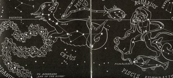 Outlines of constellations in white on black.