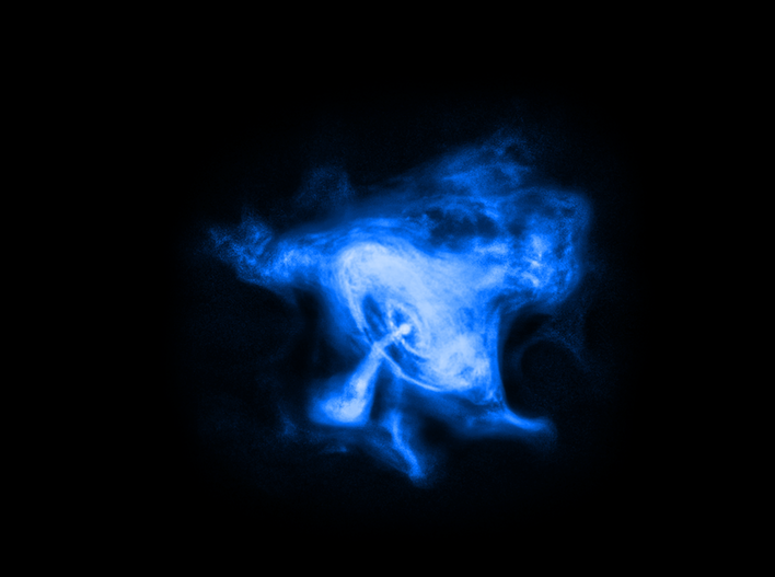 Electric blue blob on a black background with jet coming out of oval center.