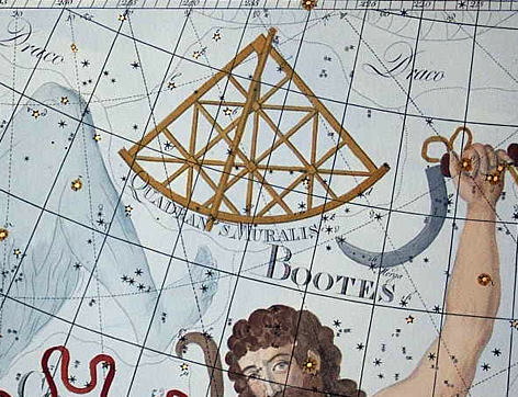 Antique etching of a sextant-like instrument on a star field.