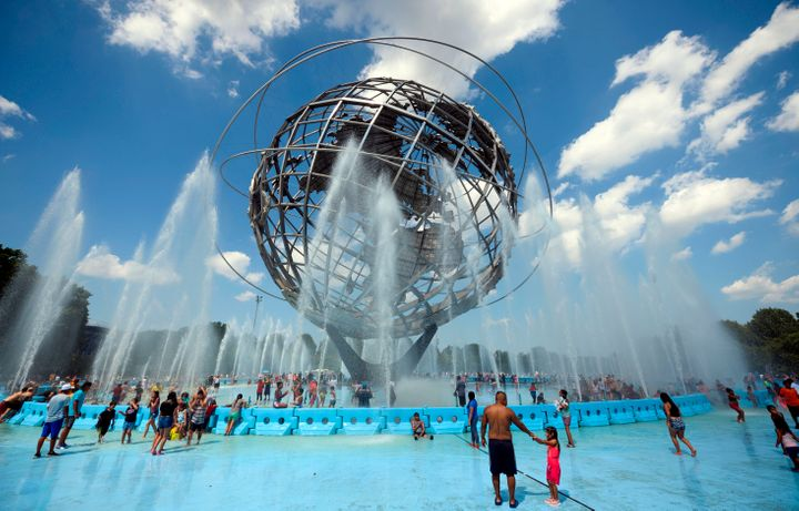 The Unisphere fountain in Flushing Meadow Corona Park in Queens.