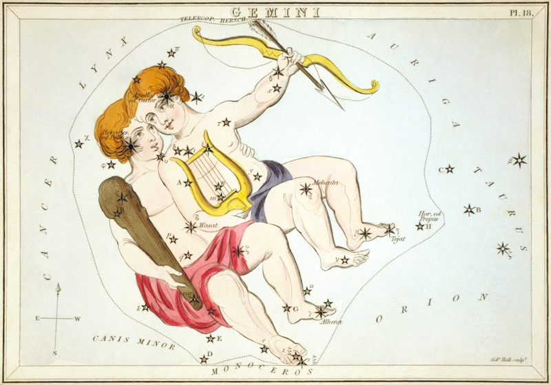 Antique colored etching showing stars in Gemini superimposed on a painting of two young brothers.
