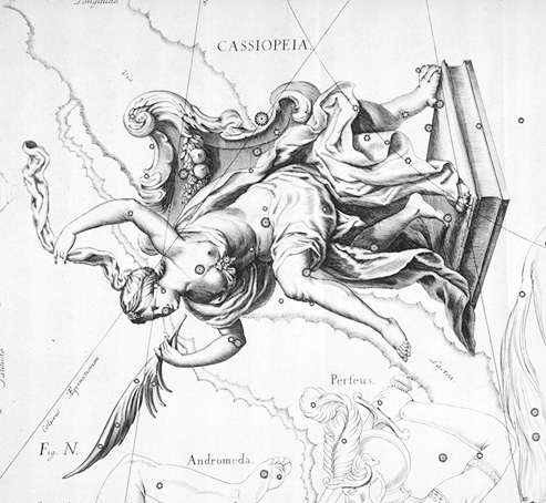 Old-fashioned drawing of Queen Cassiopeia in Greek garb upside down on her throne.