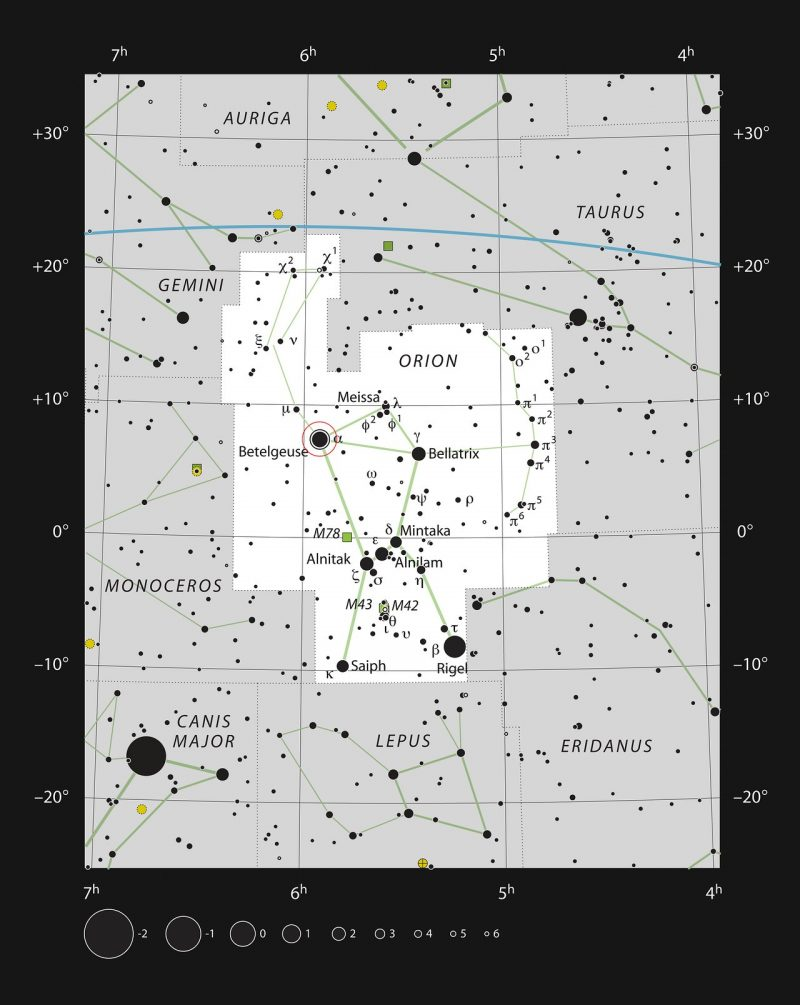 Star chart of Orion.