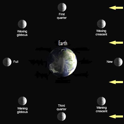 Diagram of moon in orbit around earth showing lighted side.