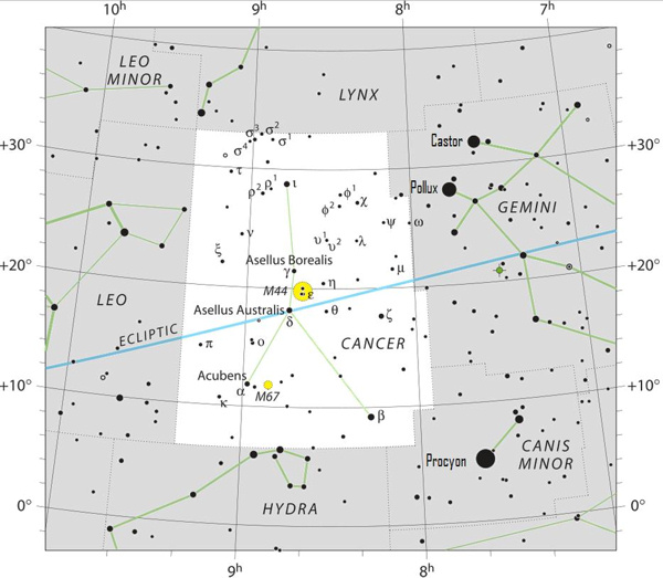 Star chart of constellation Cancer with stars in black on white and gray.
