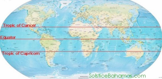 Map of the world with parallel lines of the equator and tropics of Cancer and Capricorn.