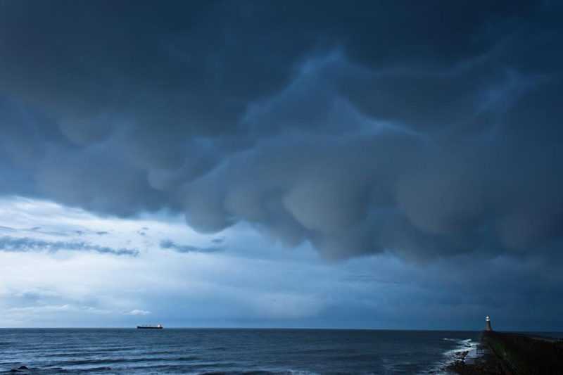 View larger. | Mammatus clouds over Tynemouth, England on May 22, 2013. Photo by Colin Cooper.