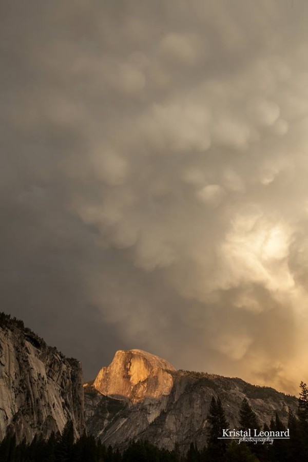 Mammatus clouds over Half Dome in Yosemite National Park on June 2, 2013, by friend Kristal Leonard. Thank you, Kristal!