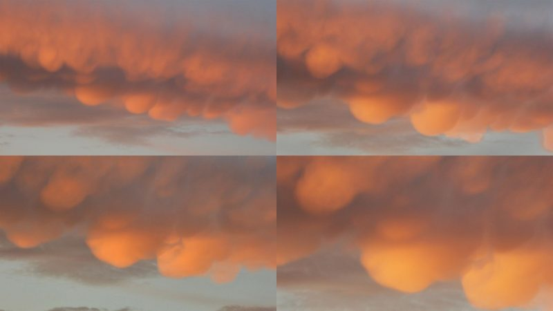 Four images of clouds with multiple rounded downward bulges.