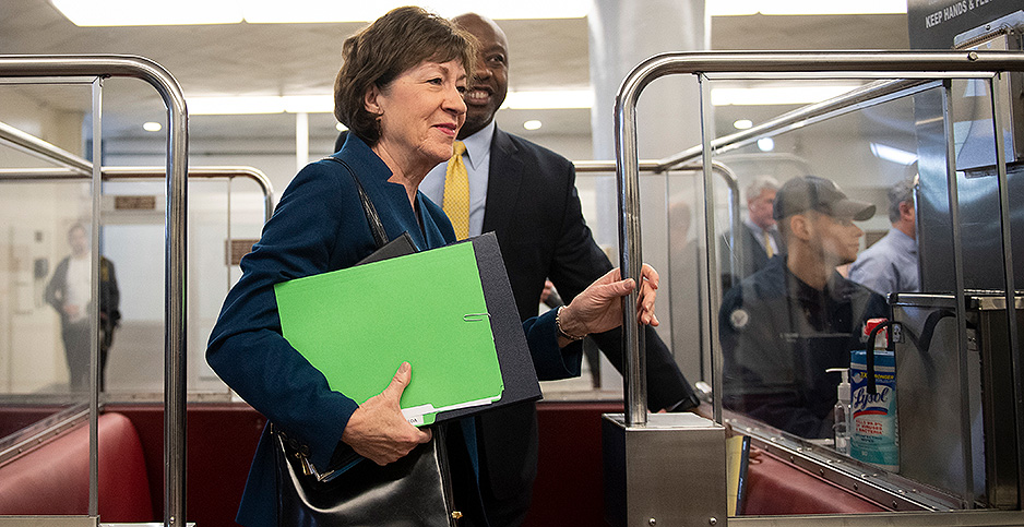 Sens. Susan Collins (R-Maine) and Tim Scott (R-S.C.). Photo credit: Caroline Brehman/CQ Roll Call/Newscom