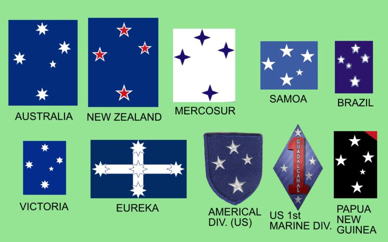 Ten flags from including Australian, Brazilian, Samoan and Papuan with stars of Southern Cross on them.