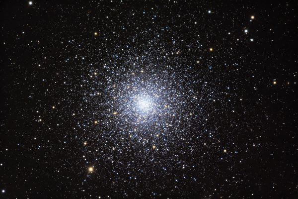 Many bright stars, thick at center of round cluster, becoming less dense with distance from center.