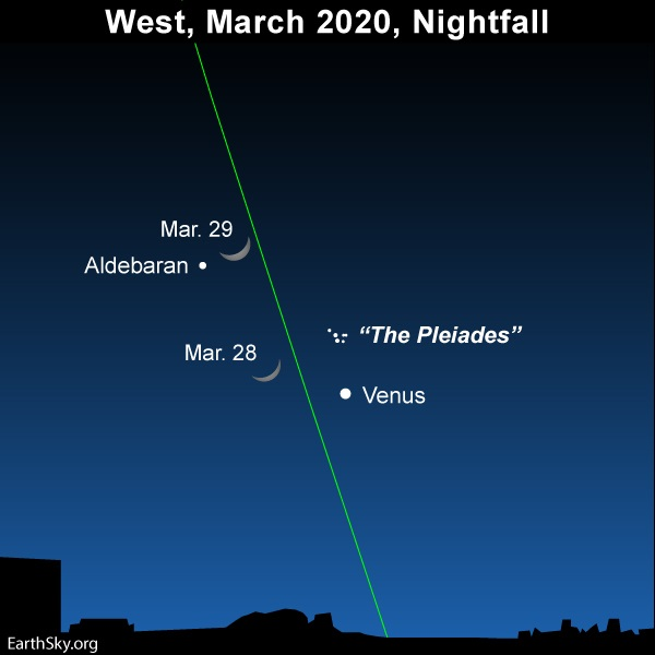 Sky chart showing the moon near Venus and the Pleiades on March 28 and 29, 2020.