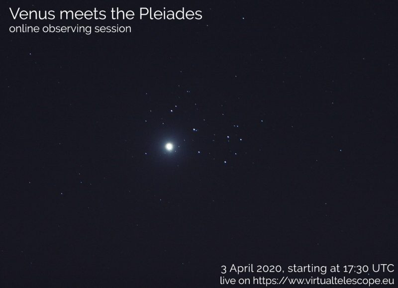 Poster from Virtual Telescope Project showing Venus near the Pleiades in 2012 with text.