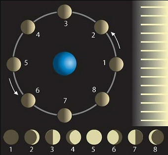 Diagram showing moon's positions in orbit around Earth with sunlight coming from the right and pictures of phases below.