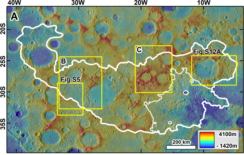 Map of textured false-color terrain with white outline, yellow rectangles and text annotations.
