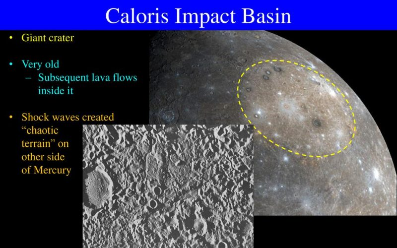 Grayish surface of a planet with yellow dashed circle and text annotations on black background, and inset showing rough texture.