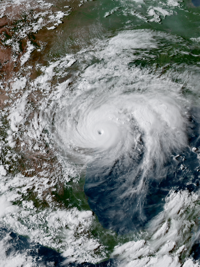 Orbital view of large hurricane bearing down on the Texas coast.