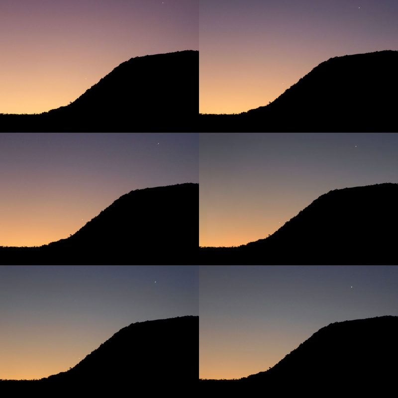 Four images of a black hillside against twilight sky with two dots of planets.