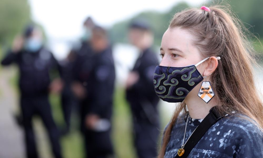 Activists from Greenpeace, Fridays for Future and Extinction Rebellion at one of the first post-lockdown protests against the Datteln 4 coal-fired power plant on 20 May