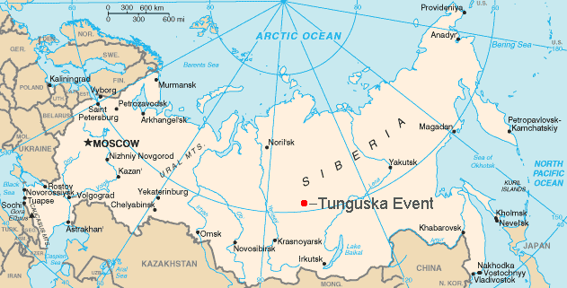 Partial world map, showing Russia with red dot in middle of Siberia.