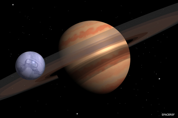 Ringed planet with smaller bluish moon.