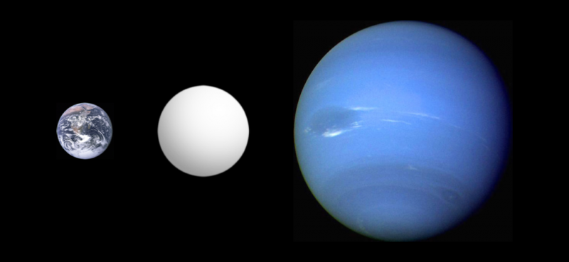Earth, larger white planet, and still larger blue planet, Neptune, on black background.