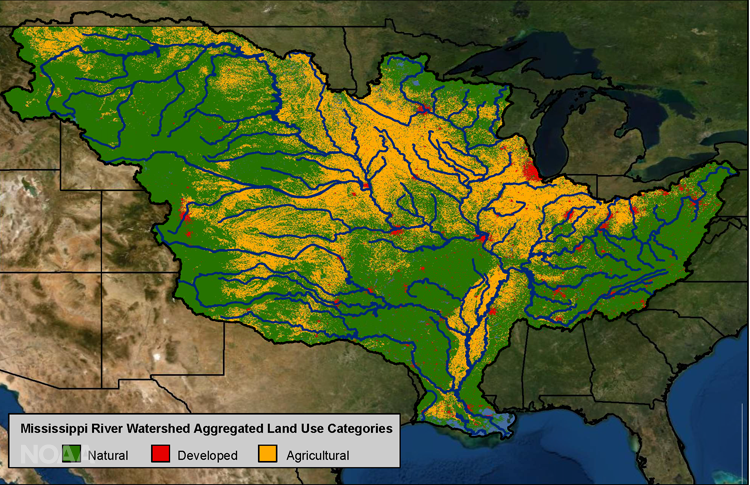 Map of US with large green area with yellow and red patches and many rivers in blue.