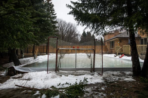 There was no skating in this backyard in Waterloo, Ontario, in February 2018.